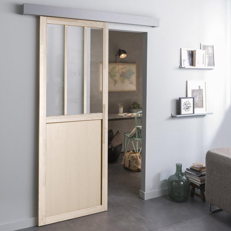 Porte Coulissante Sapin Plaquée Pin Atelier H 204 X L 73 Cm