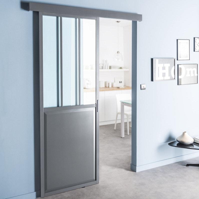 Porte Coulissante Aluminium Gris Atelier Verre Clair Artens H 204 X