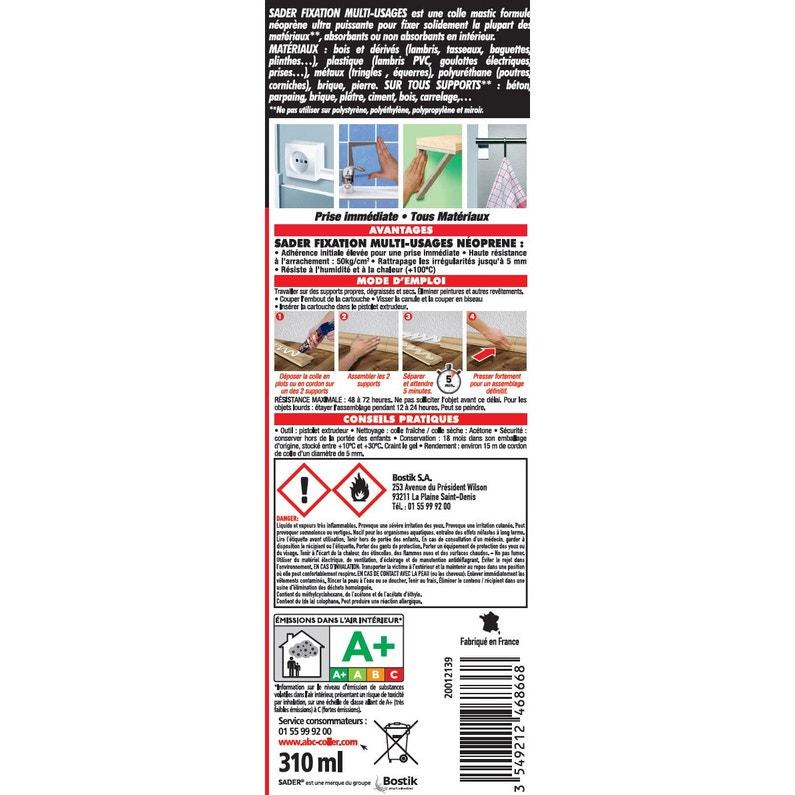 colle mastic fixer sans percer sader 310ml leroy merlin. Black Bedroom Furniture Sets. Home Design Ideas