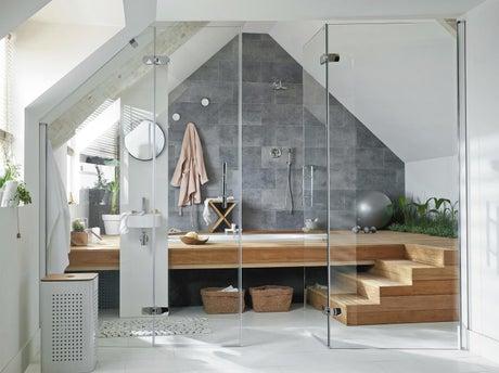 installer un espace bien tre sous les combles leroy merlin. Black Bedroom Furniture Sets. Home Design Ideas