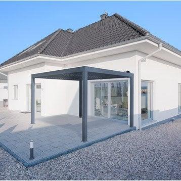 Pergola autoportante orient, aluminium gris anthracite, 12 m²