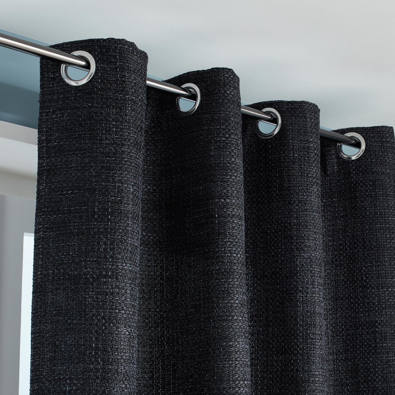 Rideau tamisant, Maille, noir, l.140 x H.250 cm INSPIRE