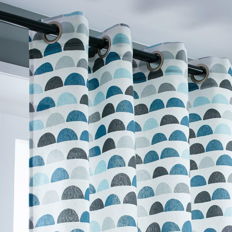 Rideau tamisant, Galleta, bleu, l.135 x H.250 cm