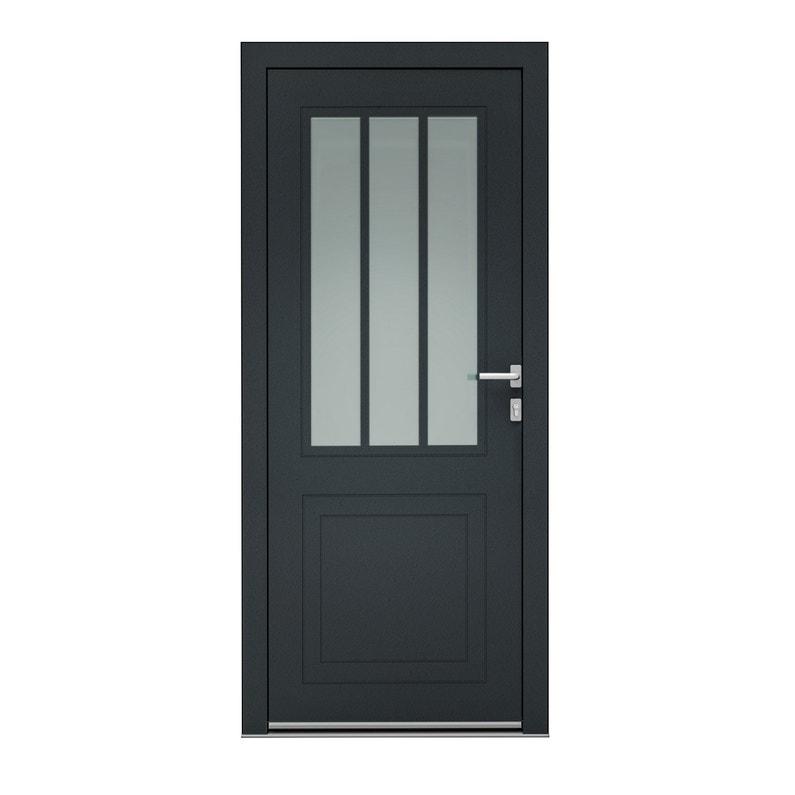 Porte D Entrée Alu Atelier Premium H 215 X L 90 Cm 1 2 Vitrée Gris Anthra Pg