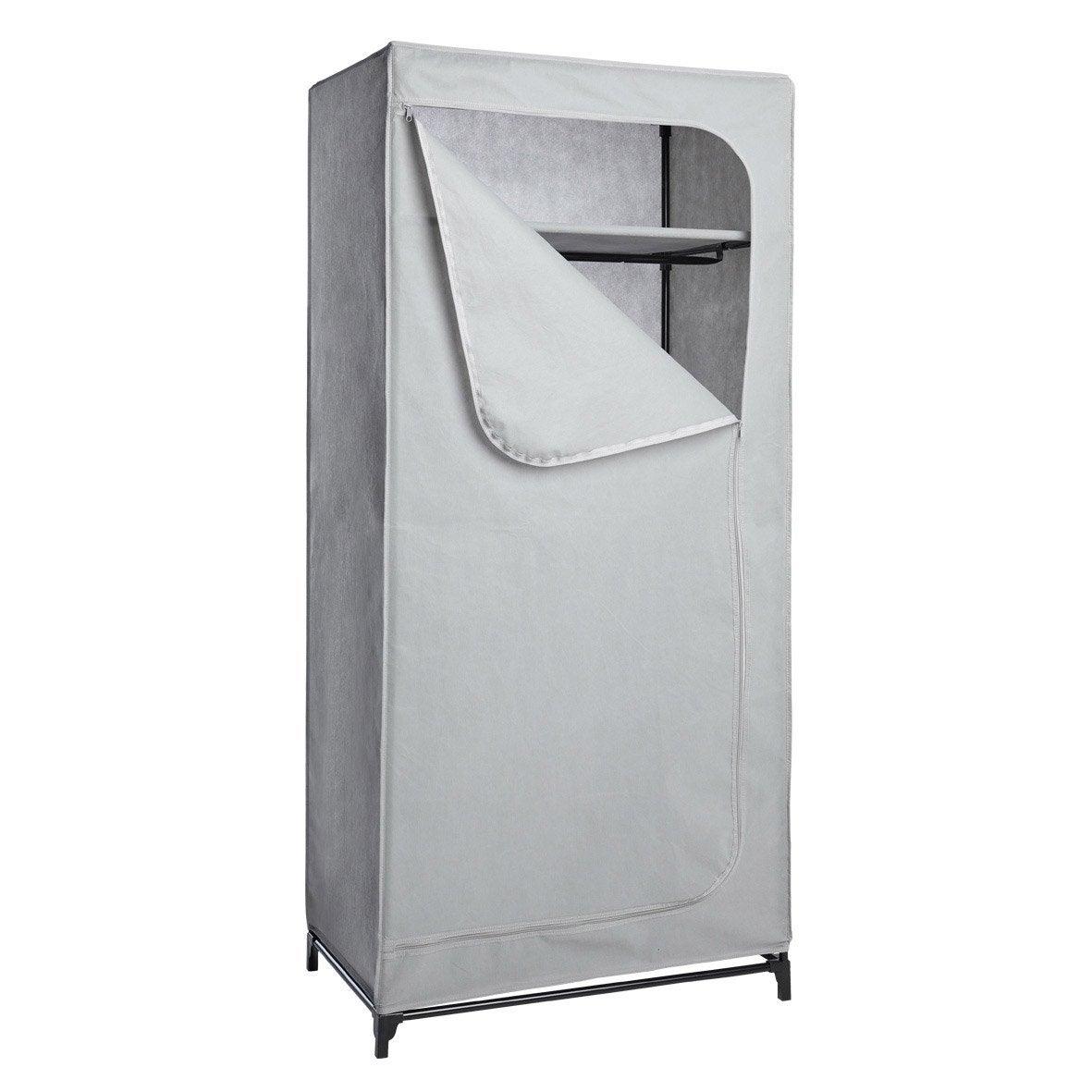 penderie et housse gris acier et intiss spaceo x x cm leroy merlin. Black Bedroom Furniture Sets. Home Design Ideas