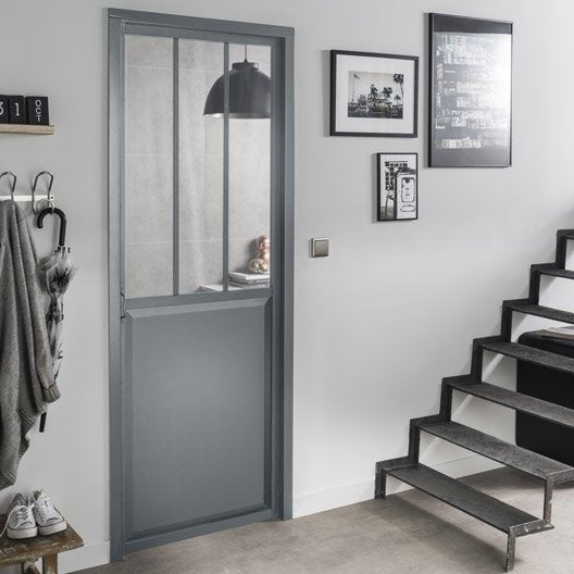 bloc porte gris atelier verre clair artens x cm poussant gauche leroy merlin. Black Bedroom Furniture Sets. Home Design Ideas