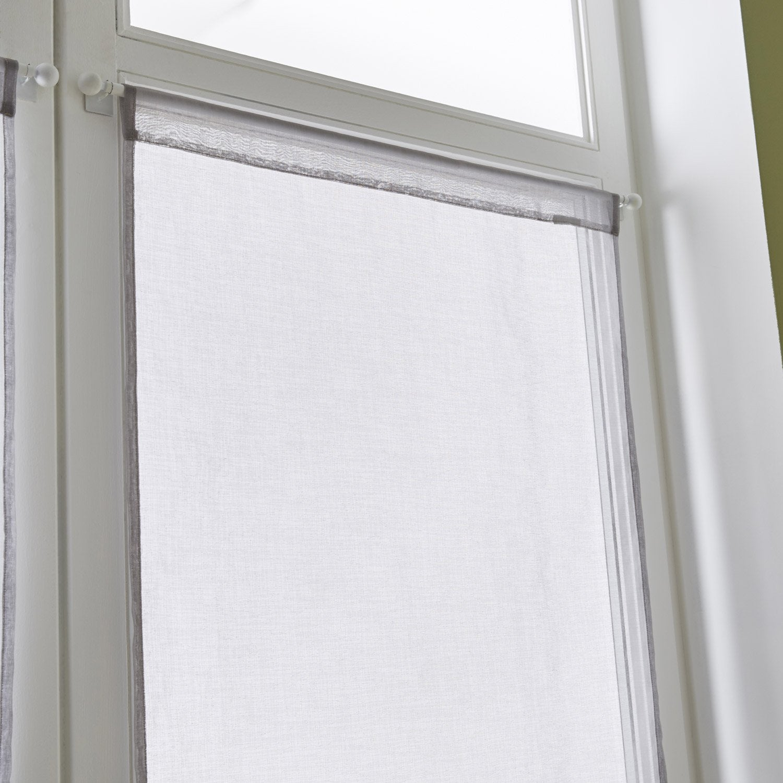 paire de vitrages tamisant petite hauteur leo gris poivr n 5 x cm vitrage. Black Bedroom Furniture Sets. Home Design Ideas