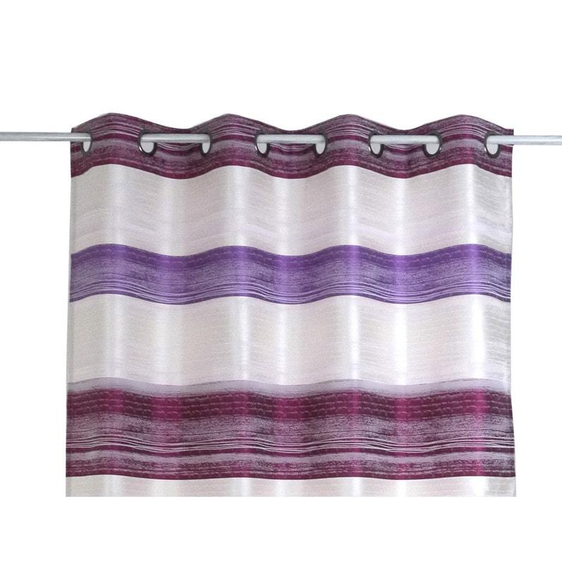 Rideau tamisant, Stripe, prune, violet et rose nacré, l.140 x H.260 ...