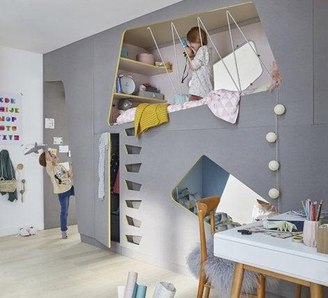 Cr er deux chambres d enfant dans une seule pi ce leroy for Separer chambre en 2