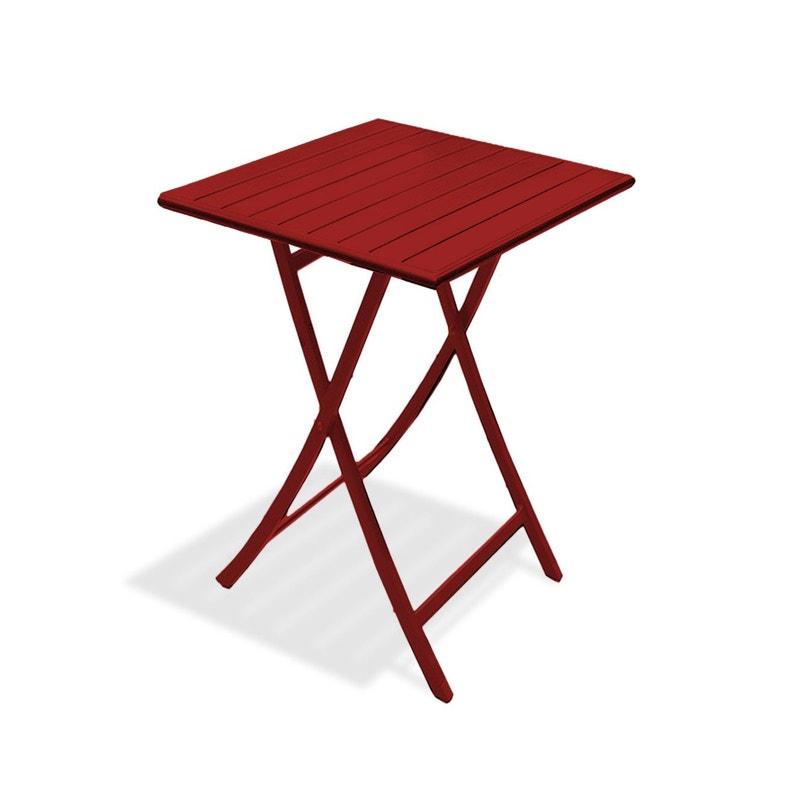 Table de jardin Marius carrée rouge 2 personnes   Leroy Merlin