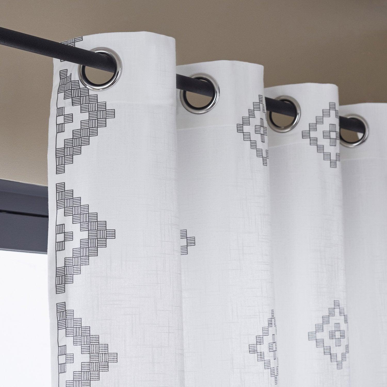 Rideau tamisant, Zofia, blanc / noir, l.140.0 x H.260.0 cm INSPIRE