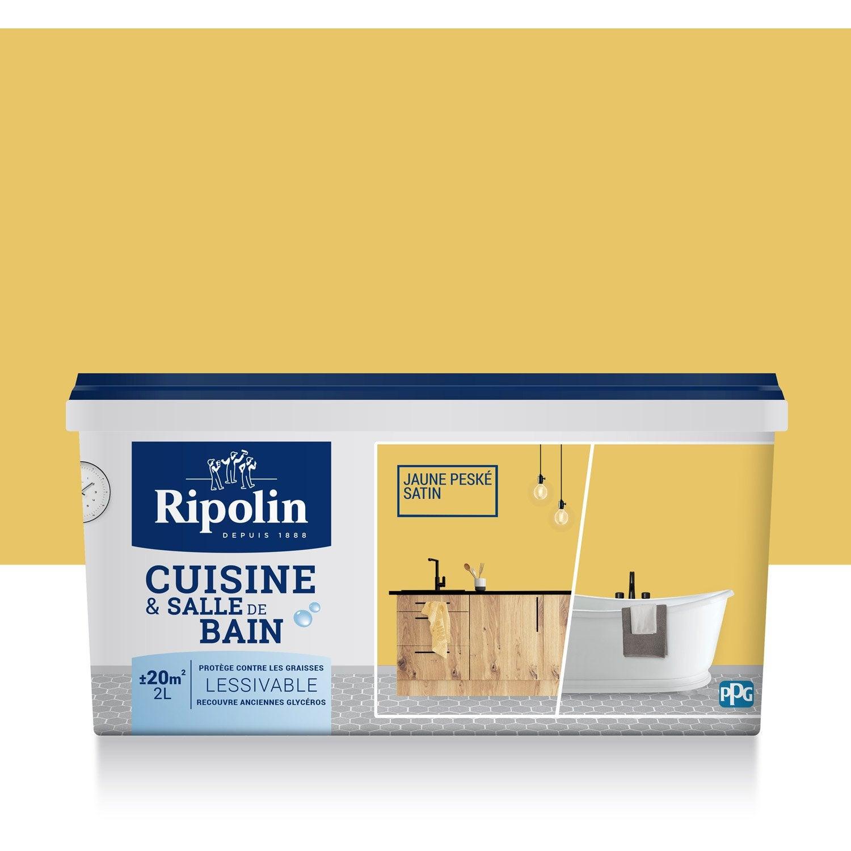 peinture cuisine et bain ripolin jaune pesk 2 l leroy. Black Bedroom Furniture Sets. Home Design Ideas