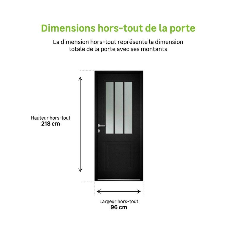 Porte D Entrée Alu Atelier Premium H 215 X L 90 Cm Vitrée Noir Pg