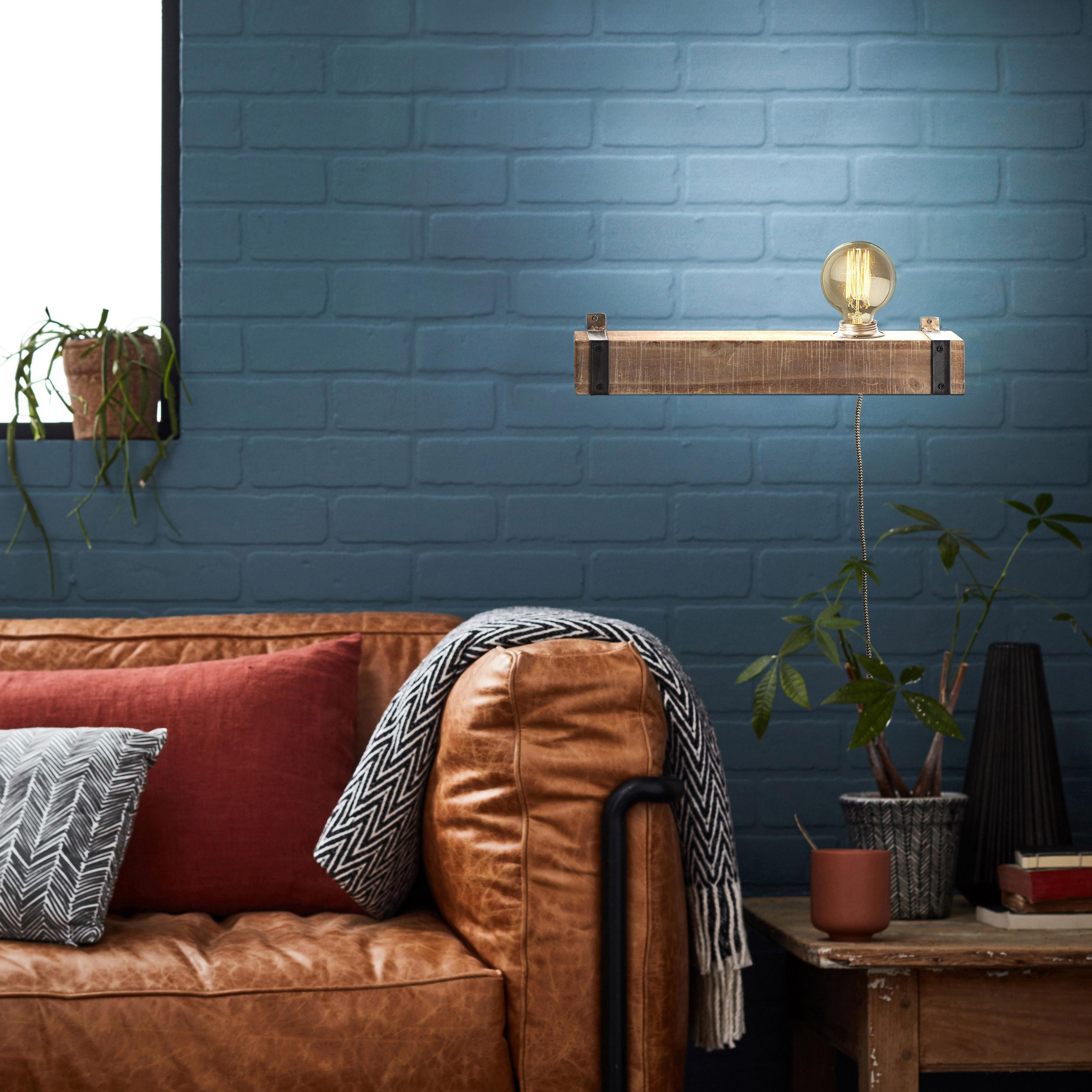 Applique, industriel métal noir et bois BRILLIANT Woodhill 1 lumière(s)