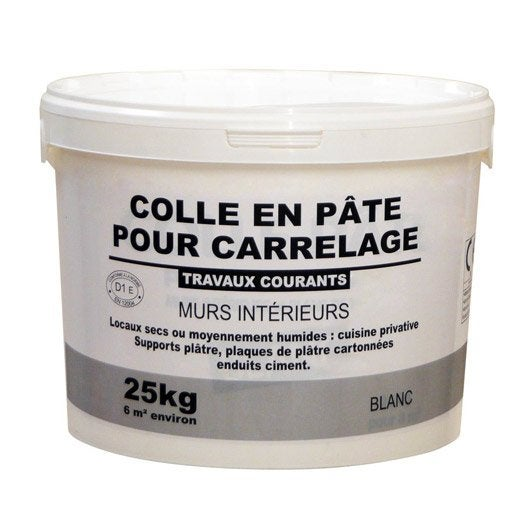 Colle en p te pour carrelage mur 25 kg blanc leroy merlin for Colle souple pour carrelage