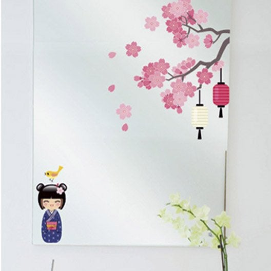 sticker printemps de la kokeshi 24 cm x 69 cm leroy merlin. Black Bedroom Furniture Sets. Home Design Ideas