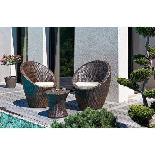 salon bas de jardin totem r sine tress e chocolat 1 table 2 fauteuils leroy merlin. Black Bedroom Furniture Sets. Home Design Ideas