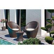 Salon bas de jardin Totem résine tressée chocolat 1 table + 2 fauteuils