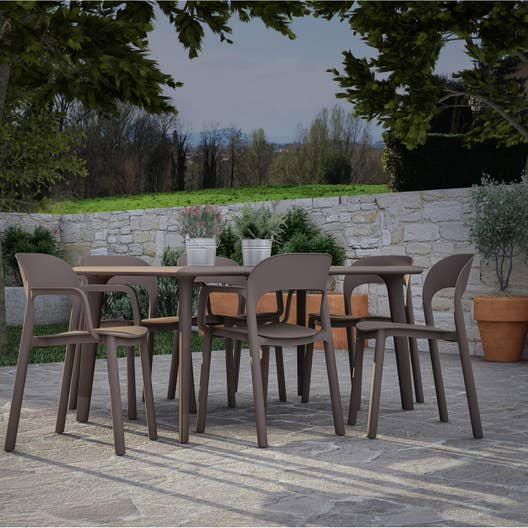 Salon de jardin dessa r sine plastique brun marron 6 for Salon de jardin 6 personnes