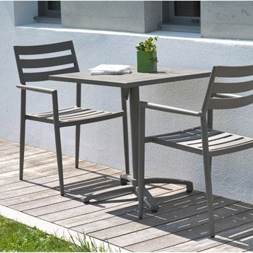 Salon de jardin table et chaise mobilier de jardin for Salon de jardin plastique gris