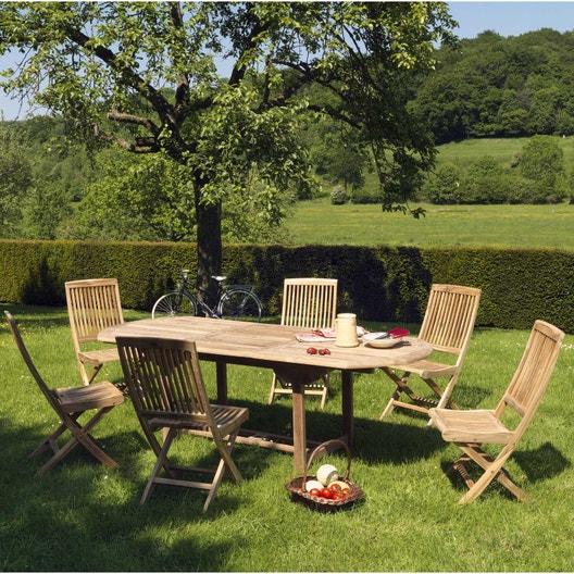 Salon de jardin Azur bois naturel, 6 personnes | Leroy Merlin