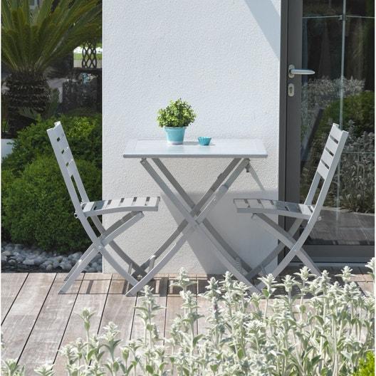Salon de jardin Marius aluminium gris, 2 personnes | Leroy Merlin
