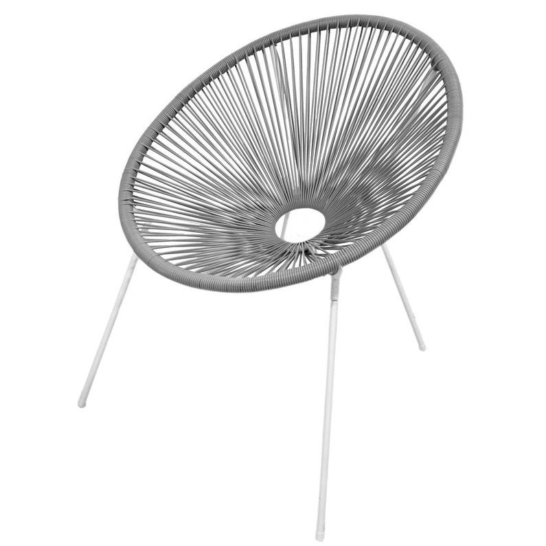 fauteuil en acier acapulco taupe | leroy merlin
