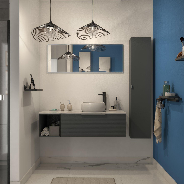Meuble de salle de bains avec les façades graphiques et des niches