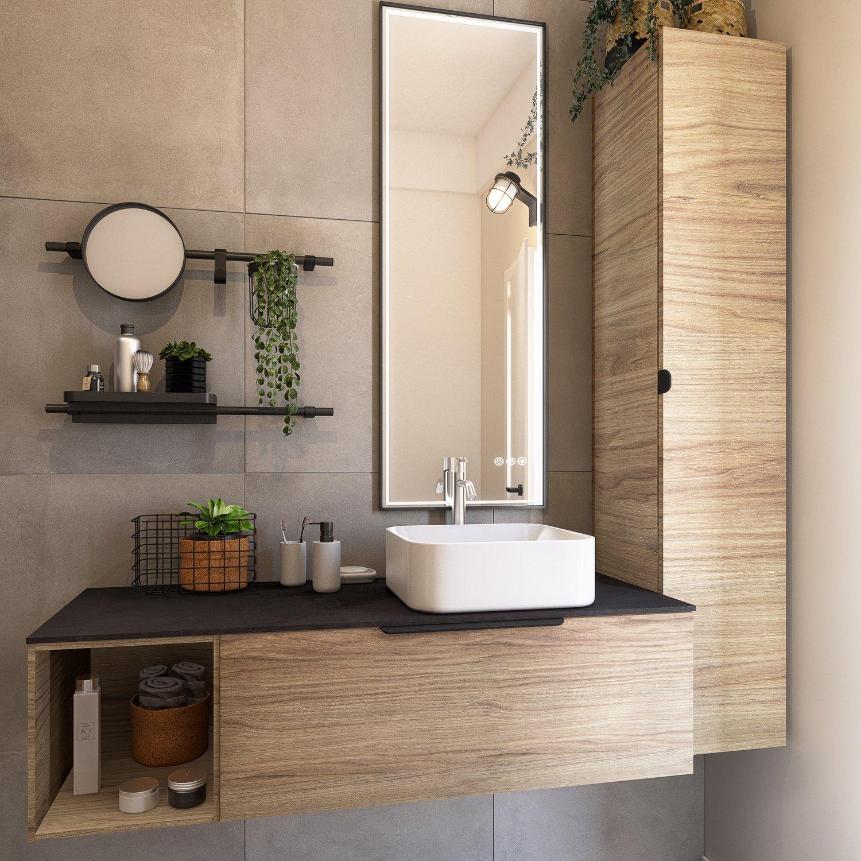 Total look industriel pour cette salle de bains leroy merlin - Stratifie salle de bain leroy merlin ...