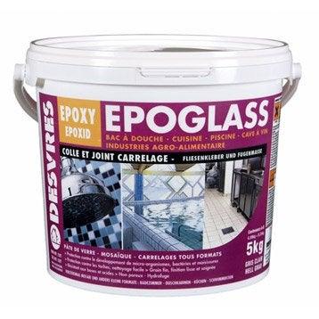 Colle et joint époxy Epoglass pour carrelage et mosaïque mur et sol, 5 kg, blanc