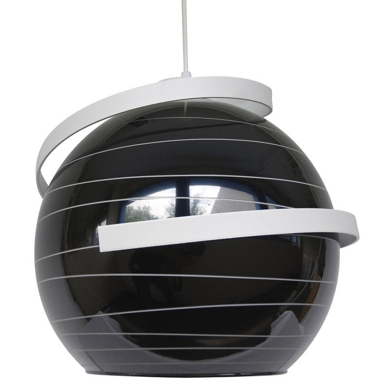 Suspension Design Verre Noir Et Blanc Lussiol Shadow 1 Lumiere S D