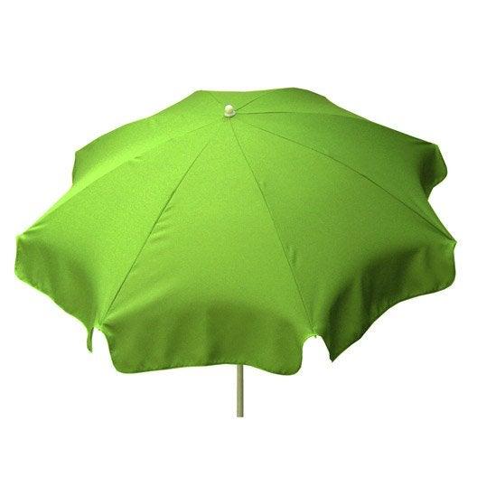 Parasol droit Lola vert pomme rond, L.180 x l.180 cm