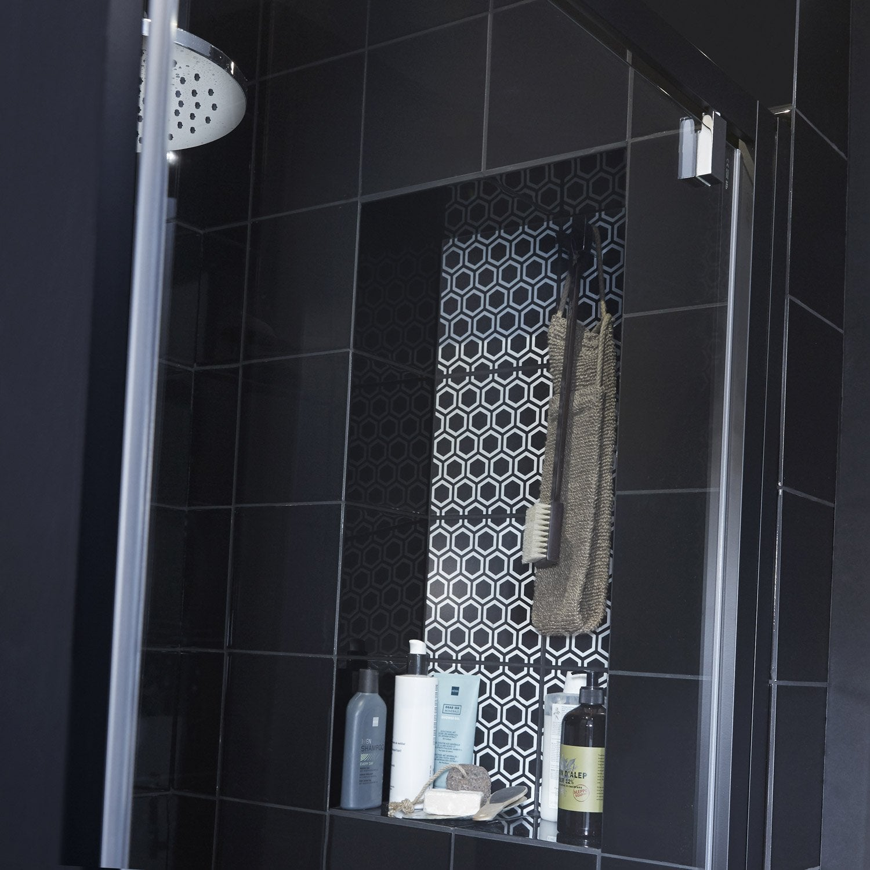 Carrelage mur forte noir-noir n°0 brillant l.19.7 x L.19.7 cm, Astuce