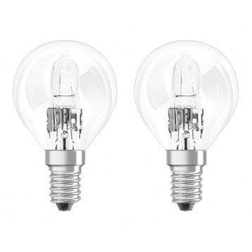 Lot de 2 ampoules sphériques halogènes 30W = 405Lm (équiv. 40W) E14 2800K OSRAM