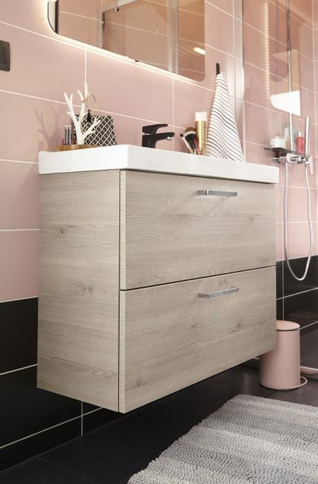 Un meuble Néo double tirroir avec vasque intégrée