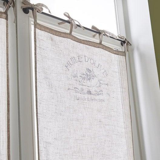 vitrage tamisant huile olive cru x cm leroy merlin. Black Bedroom Furniture Sets. Home Design Ideas