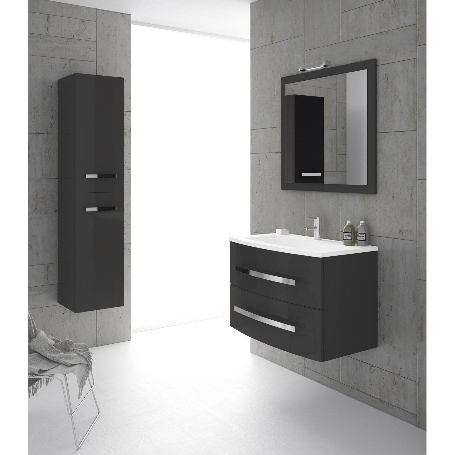 meuble de salle de bains de 80 99 gris argent perla. Black Bedroom Furniture Sets. Home Design Ideas