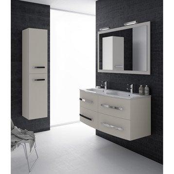 Meuble de salle de bains plus de 120 blanc beige for Meuble concept plus