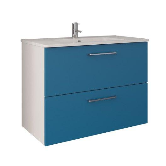 Meuble De Salle De Bains De à Bleu Happy Leroy Merlin - Meuble salle de bain bleu turquoise