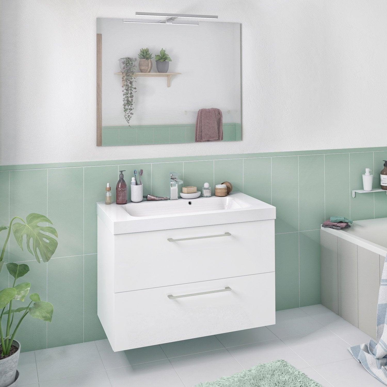 Meuble de salle de bains l.90 x H.58 x P.46 cm, blanc, Remix
