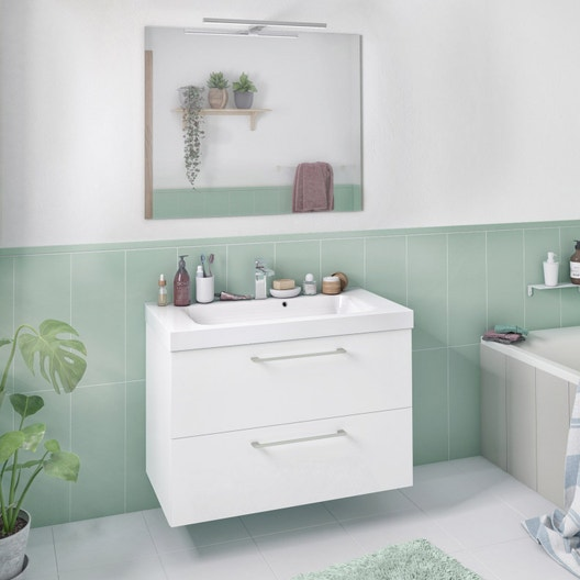 Meuble De Salle De Bains Remix L 76 Blanc Simple Vasque 2