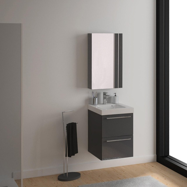Meuble simple vasque l.60 x H.58 x P.46 cm, gris foncé, Remix