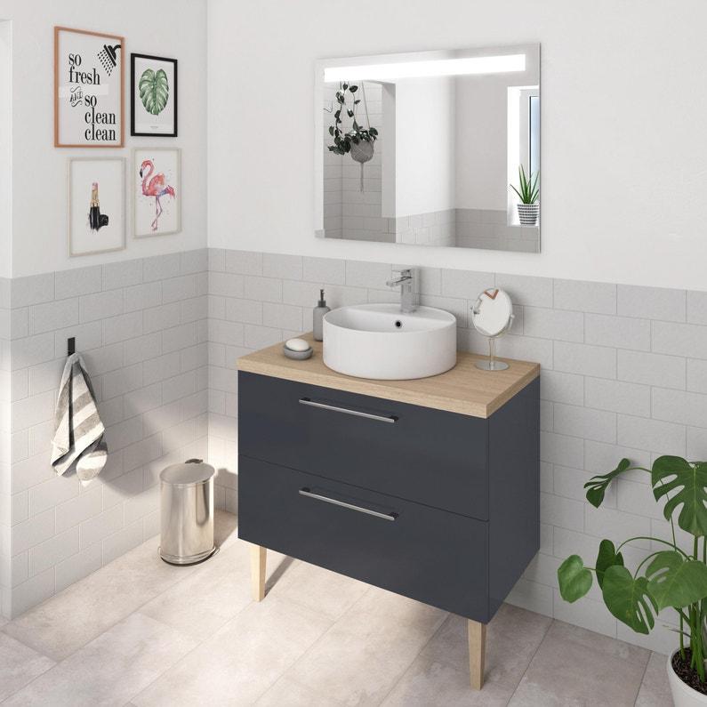 Meuble Simple Vasque L 90 X H 58 X P 48 Cm Gris Remix Leroy Merlin