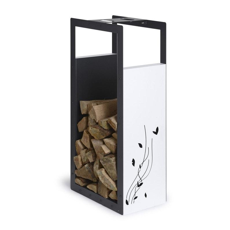 Porte Bûches Blanc Et Noir Sablé Equation L46 X H100 Cm