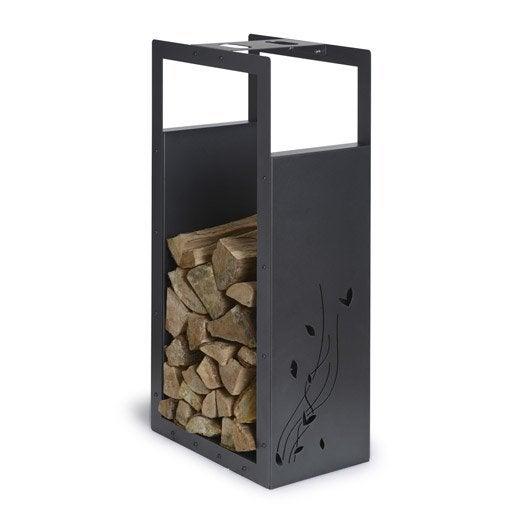 rangement pour bois acier laqu noir sabl equation cm leroy merlin. Black Bedroom Furniture Sets. Home Design Ideas