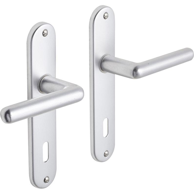 2 Poignées De Porte Aby Trou De Clé Aluminium 165 Mm
