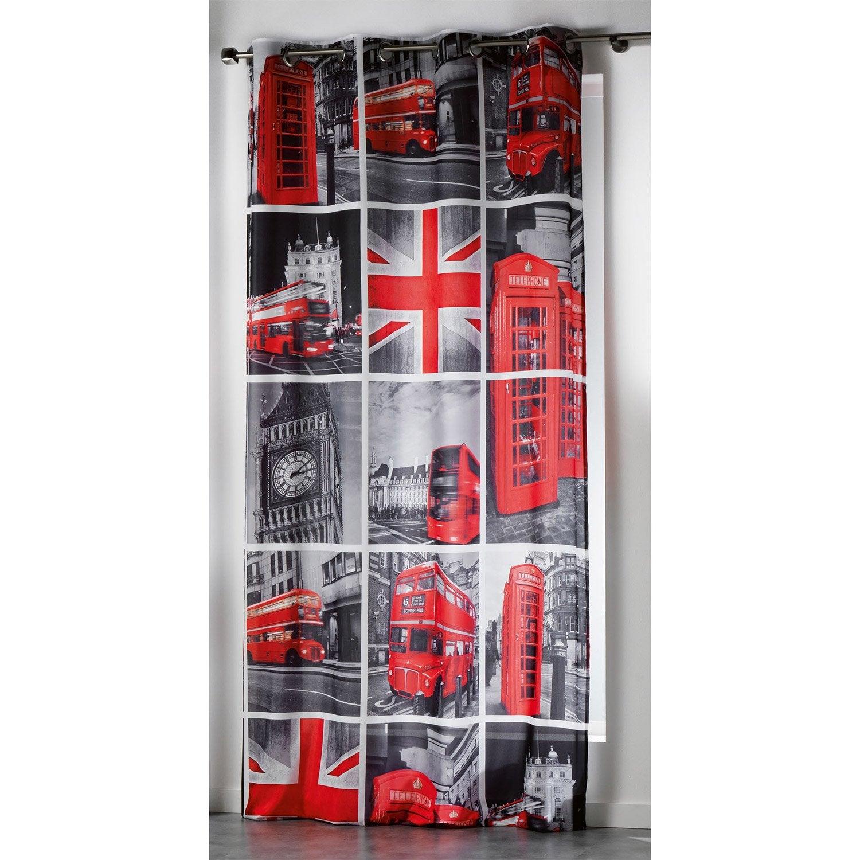 Rideau transparent, rouge, l.260 x H.140 cm | Leroy Merlin