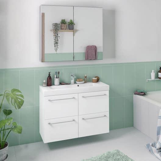 Carrelage Salle De Bain Ccl ~ Meuble De Salle De Bains Remix L 91 Blanc 3d Simple Vasque 4