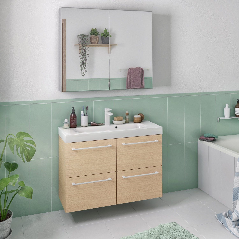 Meuble de salle de bains, Remix, l.91, chêne naturel, Simple vasque, 4 tiroirs