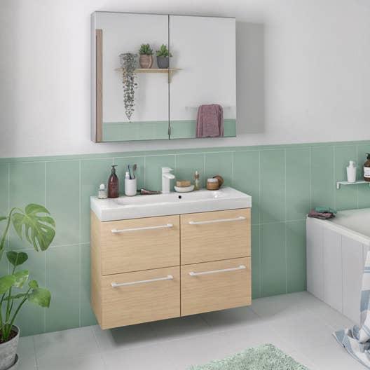 meuble de salle de bains remix ch ne naturel simple vasque 4 tiroirs leroy merlin. Black Bedroom Furniture Sets. Home Design Ideas